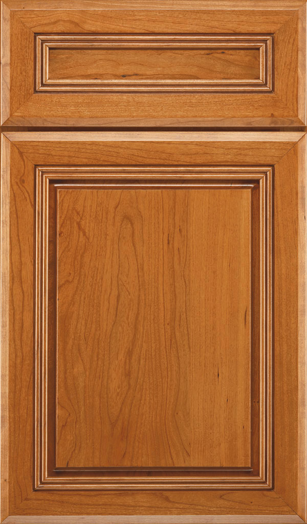Cambridge 5-Piece Cherry Raised Panel Cabinet Door in Wheatfield Bronze