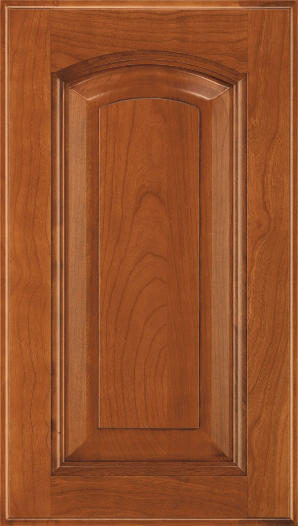 Kingston Cherry arched Raised Panel Cabinet Door in Brandywine Coffee