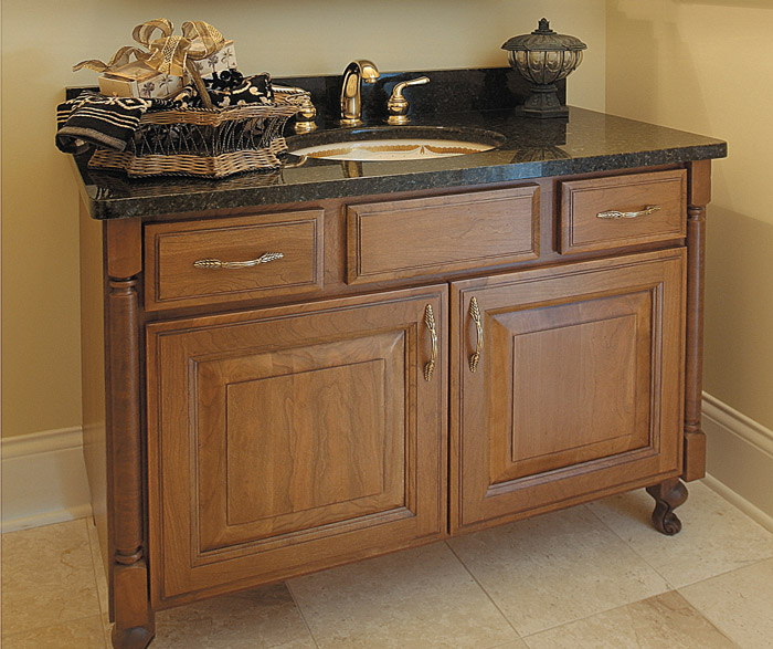 Cambridge bathroom vanity in cherry with coriander finish and coffee glaze