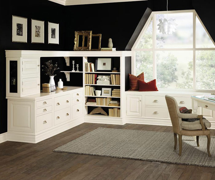 Inset cabinets in a home office by Decora Cabinetry