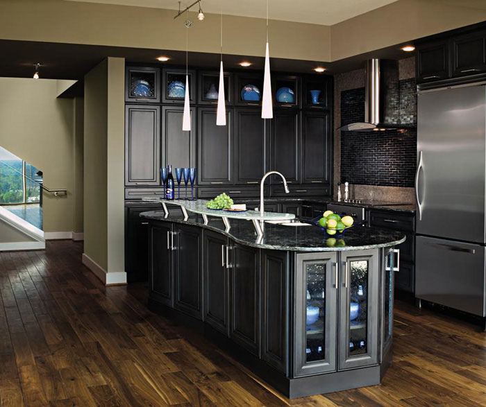 Dark grey kitchen cabinets by Decora Cabinetry