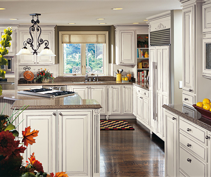 Off White Glazed Cabinets in a Traditional Kitchen
