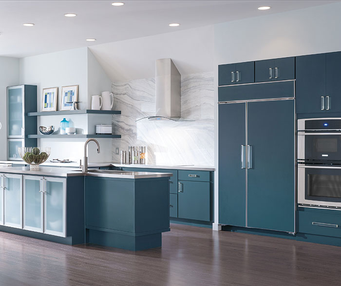 Blue Painted Kitchen Cabinets
