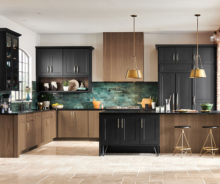 Transitional Walnut and Maple Kitchen Cabinets