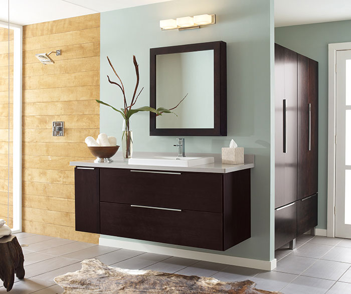 Wall-Mounted Bathroom Vanity in Dark Cherry