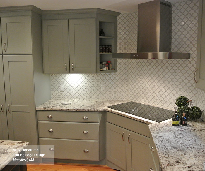Painted Maple Artisan cabinets in Stamped Concrete color