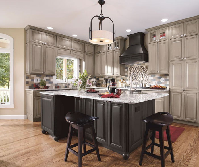 Gray kitchen cabinets by Decora Cabinetry