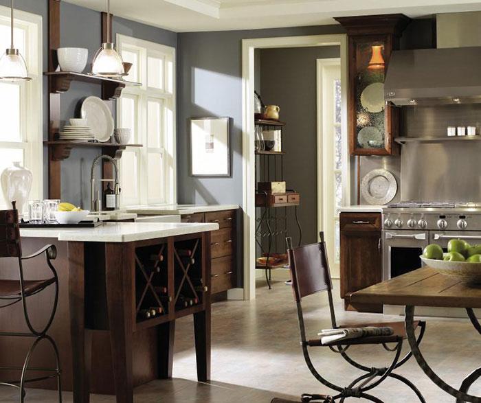 Dark Cherry kitchen cabinets by Decora Cabinetry